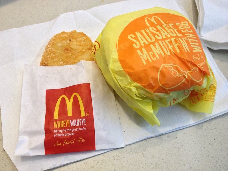Hash Brown and Sausage McMuffin